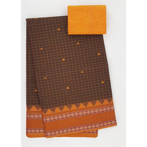 Brown and Yellow Color Kanchi cotton saree allover checks and buttis with thread border - Vinshika