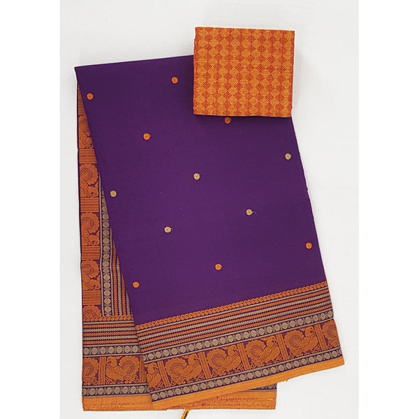 Purple and Yellow Color Kanchi cotton saree with thread border and Rich Pallu - Vinshika