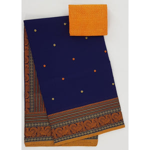 Deep Navy Blue and Yellow Color Kanchi cotton saree with thread border and Rich Pallu - Vinshika