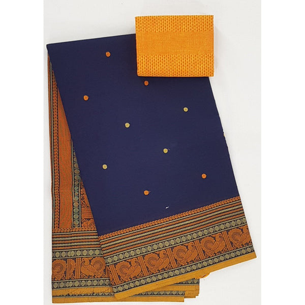 Navy Blue and Yellow Color Kanchi cotton saree with thread border and Rich Pallu - Vinshika