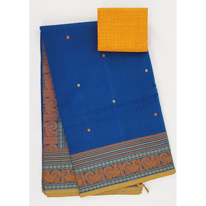Blue and Yellow Color Kanchi cotton saree with thread border and Rich Pallu - Vinshika