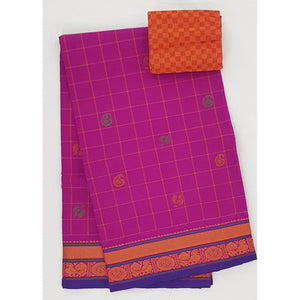 Pink and Orange Color Kanchi cotton saree allover checks and buttis with thread border - Vinshika