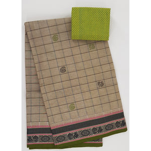 Wheat and Green Color Kanchi cotton saree allover checks and buttis with thread border - Vinshika