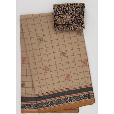Beige and Yellow Color Kanchi cotton saree allover checks and buttis with thread border - Vinshika