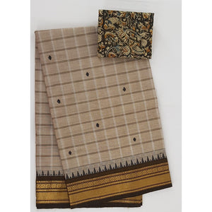 Beige and Brown Color Kanchi cotton saree with zari border - Vinshika