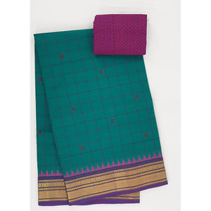 Blue and Purple color Kanchi cotton saree with zari border - Vinshika