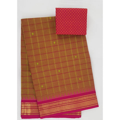 Saffron and Pink Color Kanchi cotton saree with zari border - Vinshika