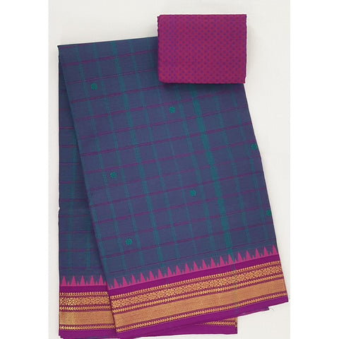 Denim and Pink color Kanchi cotton saree with zari border - Vinshika