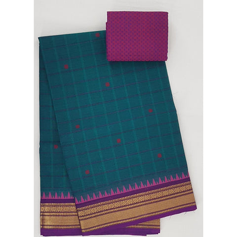 Lagoon and Purple color Kanchi cotton saree with zari border - Vinshika
