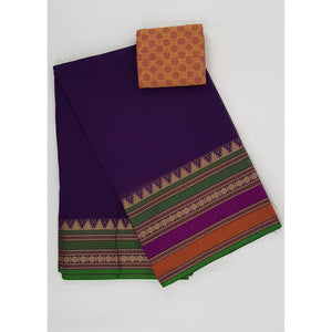 Purple Heart Color Kanchi cotton saree with thread border - Vinshika