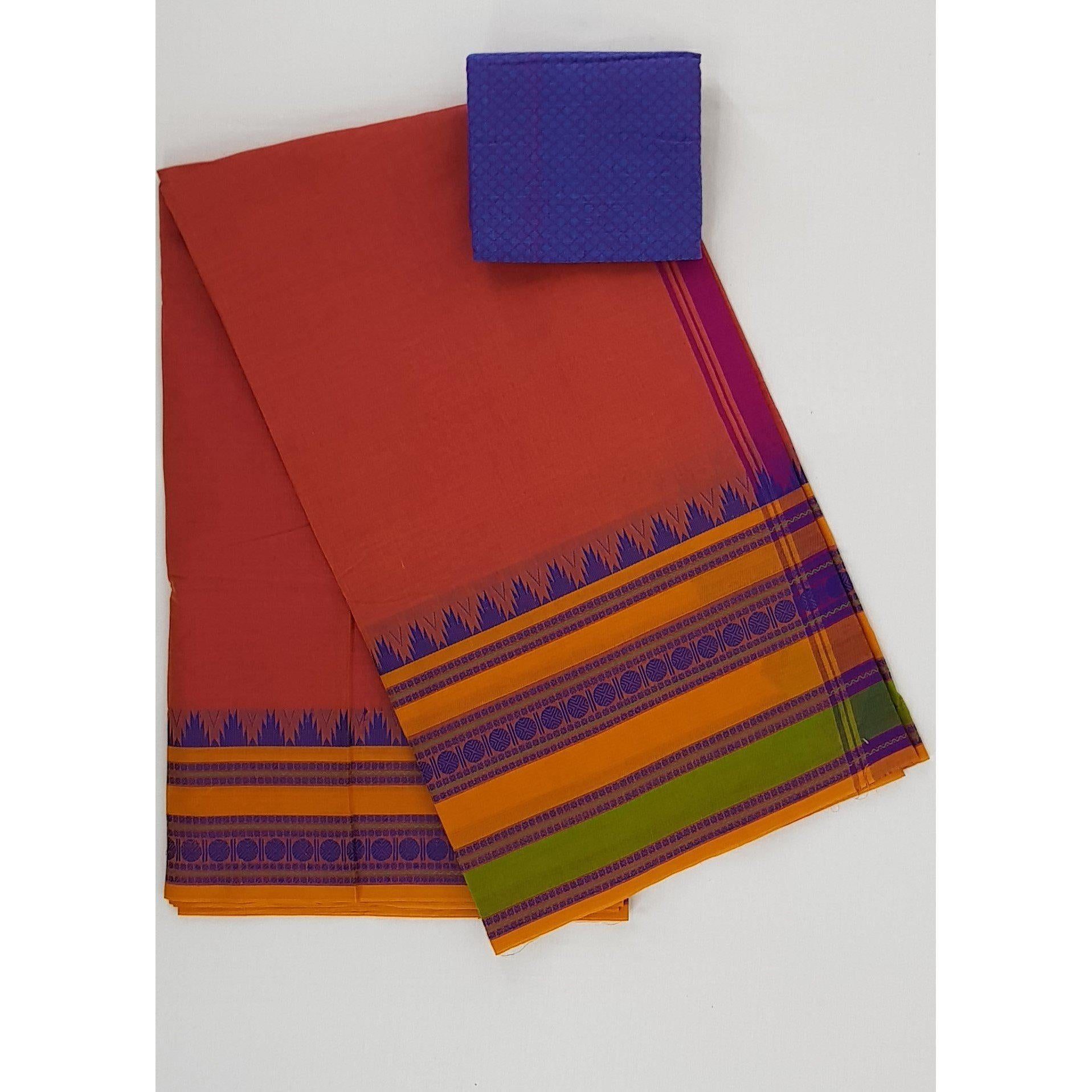 Alphonso Color Kanchi cotton saree with thread border - Vinshika