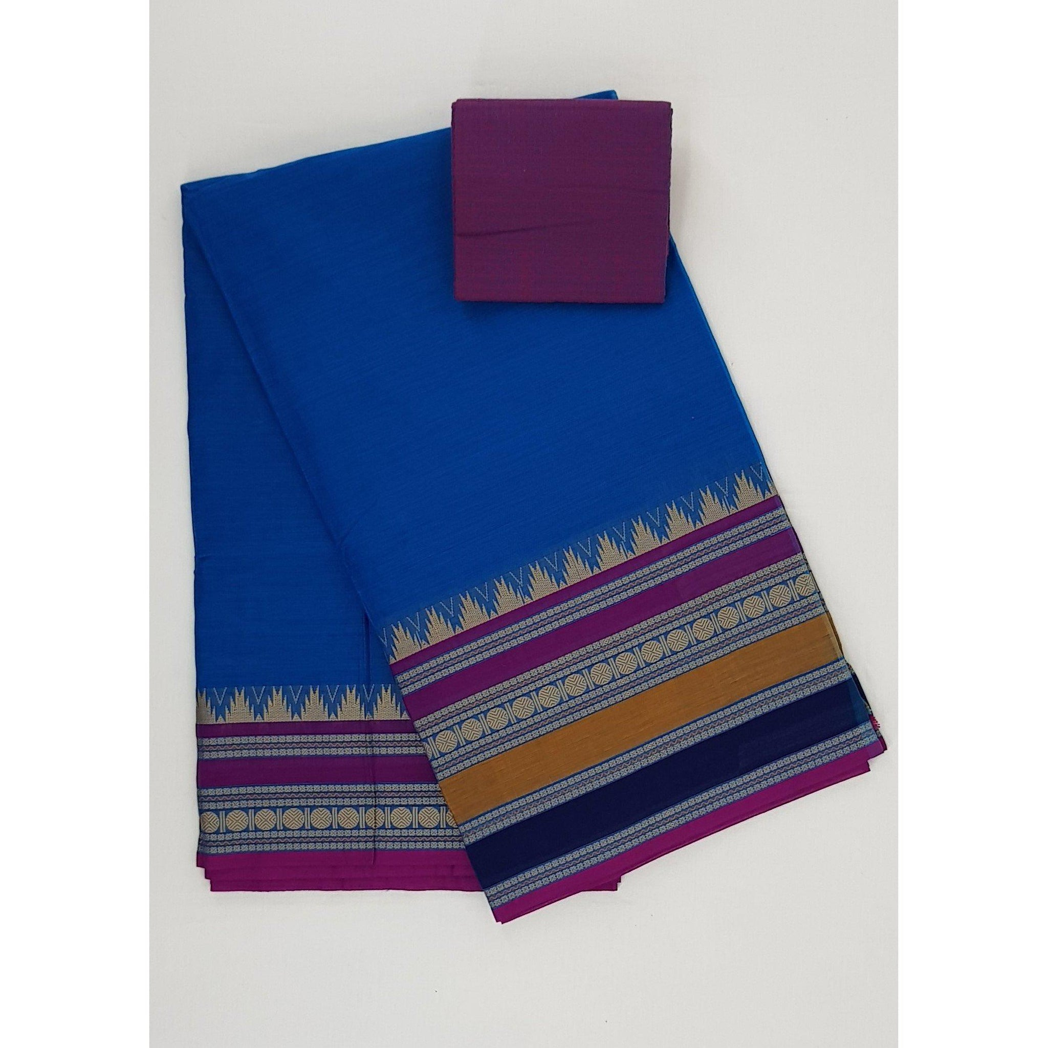 Ink Blue Color Kanchi cotton saree with thread border - Vinshika