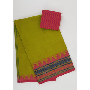 Capers color Kanchi cotton saree with thread border - Vinshika