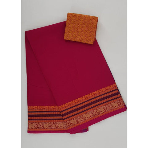 Scarlet color Kanchi cotton saree with thread border - Vinshika