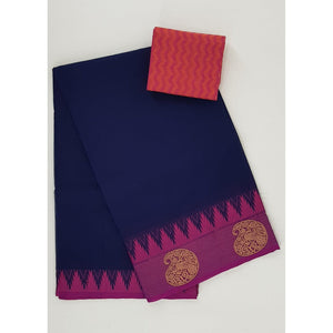 Navy Blue color Kanchi cotton saree with thread border - Vinshika