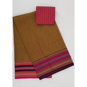 Tan Brown color Kanchi cotton saree with thread border - Vinshika