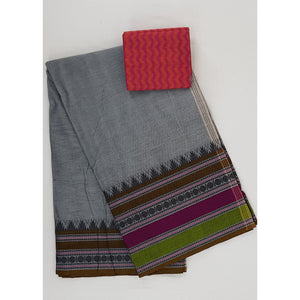Steel Grey color Kanchi cotton saree with thread border - Vinshika