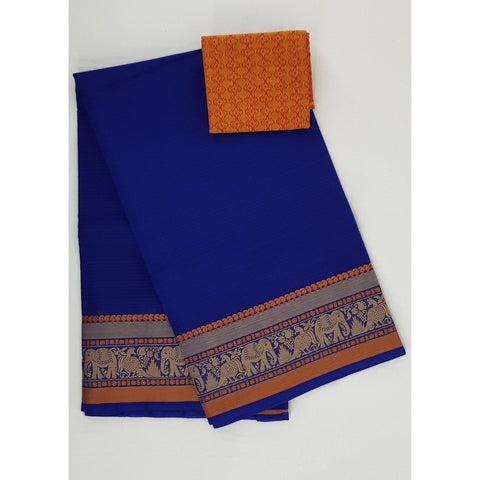 True Blue color Kanchi cotton saree with thread border - Vinshika