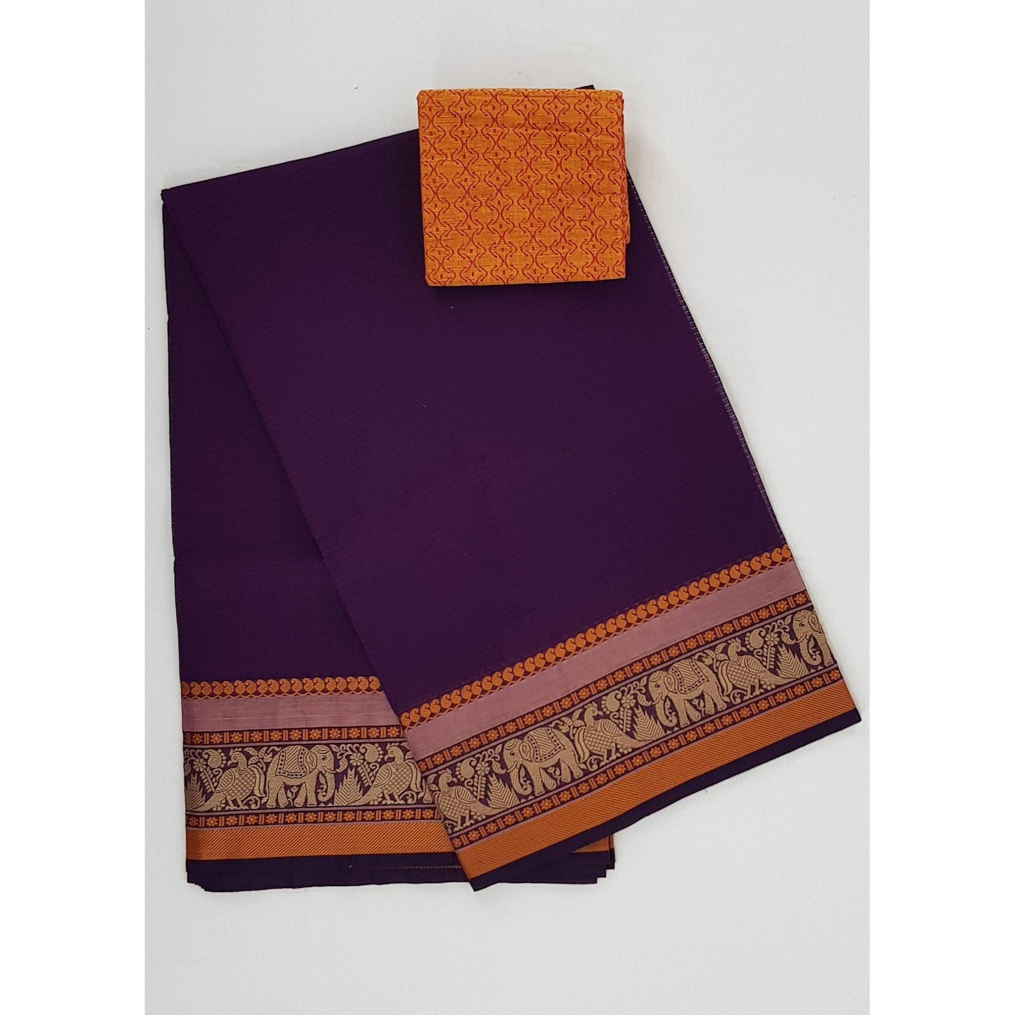 Brinjal color Kanchi cotton saree with thread border - Vinshika