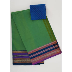 Mehendi Green color Kanchi cotton saree with thread border - Vinshika