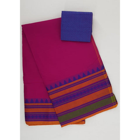 Pink color Kanchi cotton saree with thread border - Vinshika