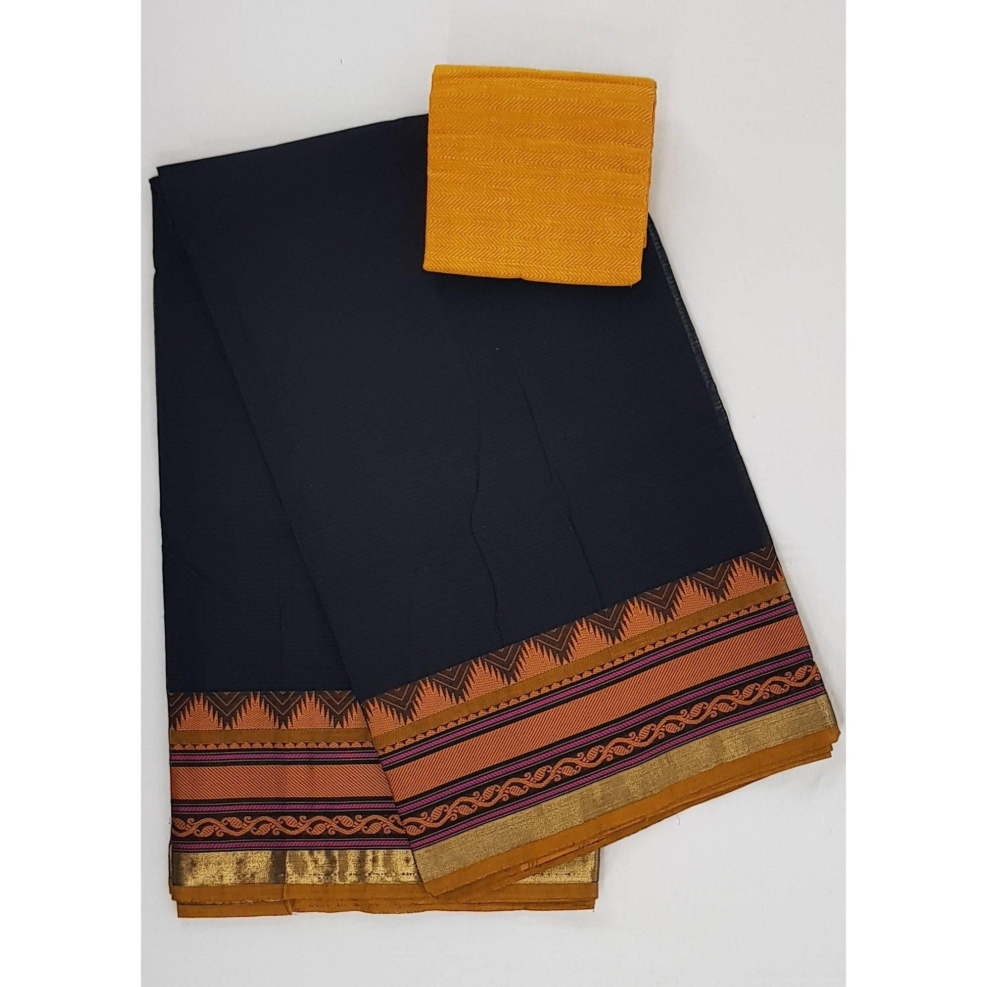 Black color Kanchi cotton saree with thread border - Vinshika
