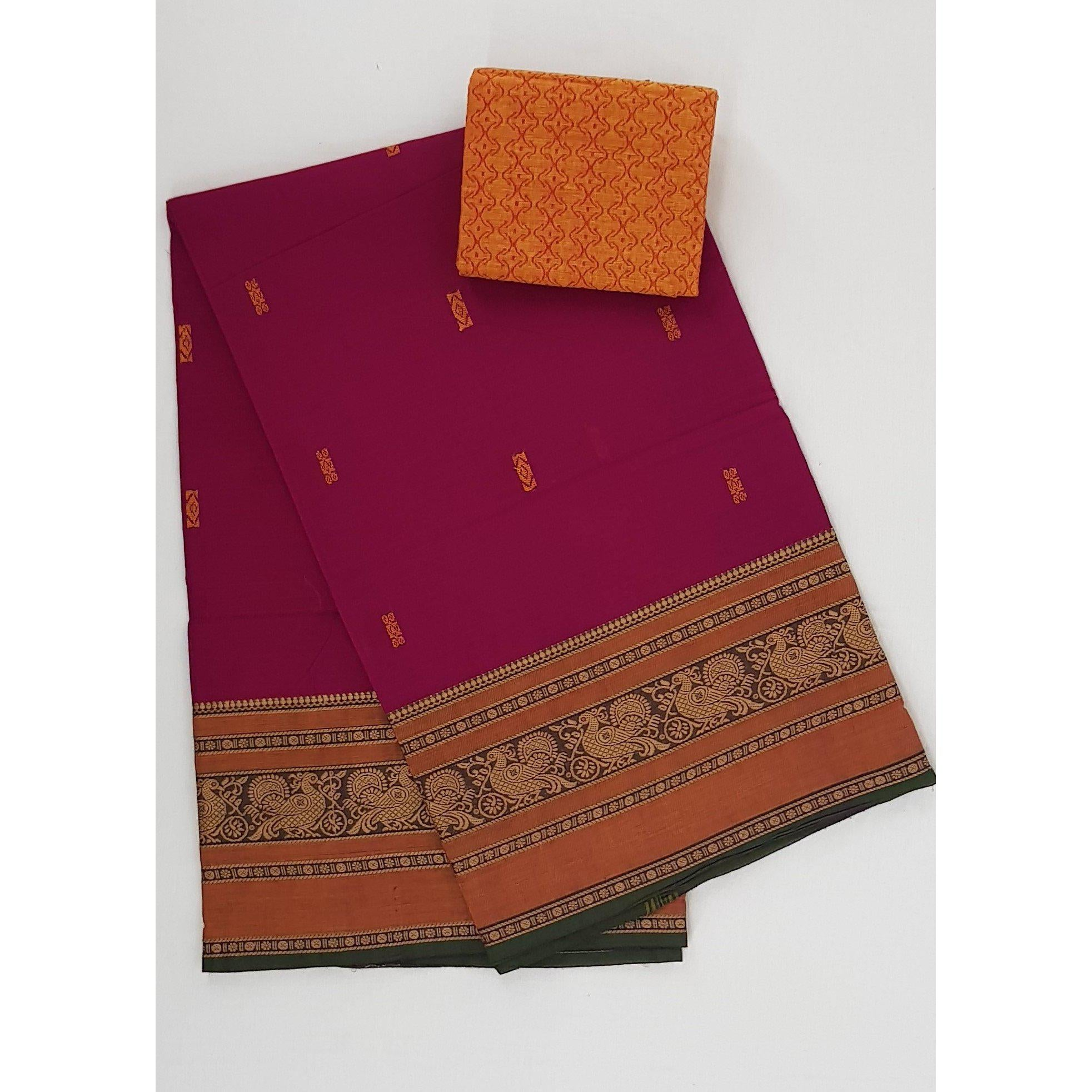 Bubble gum color Kanchi cotton saree with thread border - Vinshika