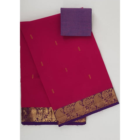 Pink color Kanchi cotton saree with zari border - Vinshika