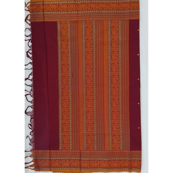 Maroon color Kanchi cotton saree with thread border and Rich pallu - Vinshika