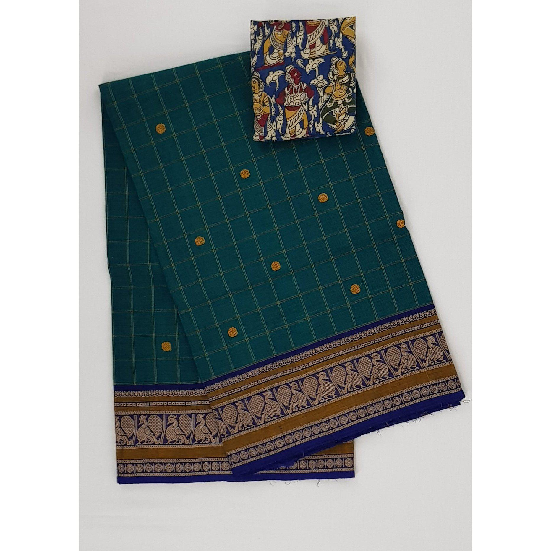 Dark Peacock color Kanchi cotton saree with thread border - Vinshika