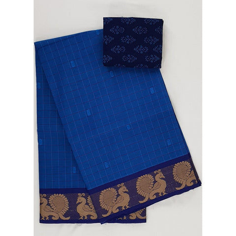 Blue color Kanchi cotton saree with thread border - Vinshika