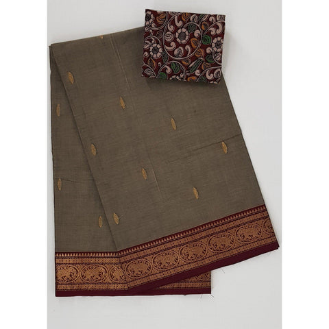 Wheat and maroon color Kanchi cotton saree with zari border - Vinshika