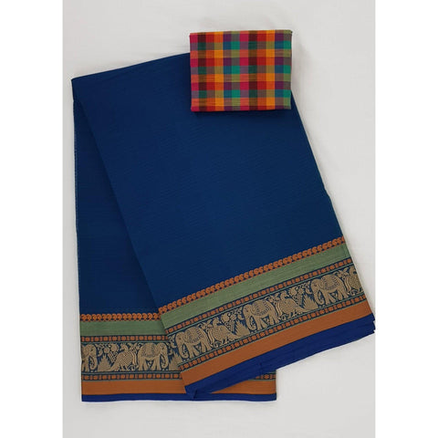 Royal Blue color Kanchi cotton saree with thread border - Vinshika