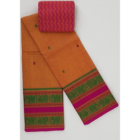 Carrot Orange Color Kanchi cotton saree with buttis and large thread border - Vinshika