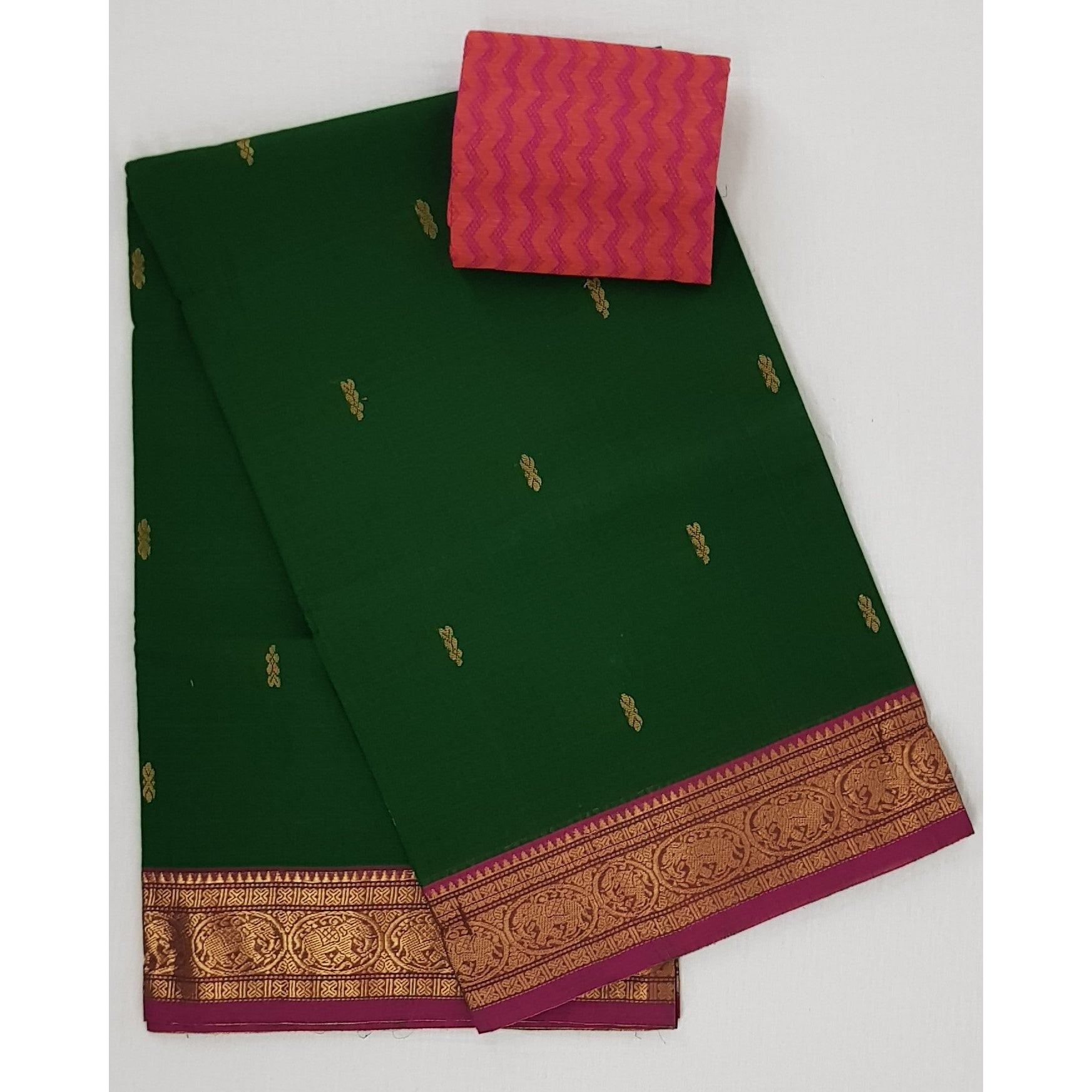 Green color Kanchi cotton saree with zari border - Vinshika
