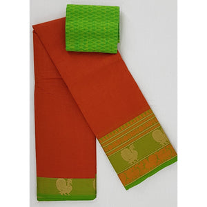 Redish Orange Color Kanchi cotton saree with thread border - Vinshika