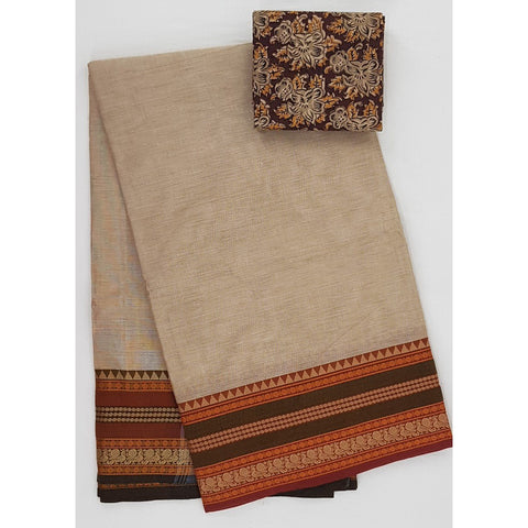 Wheat and Maroon Color Kanchi cotton saree with thread border - Vinshika