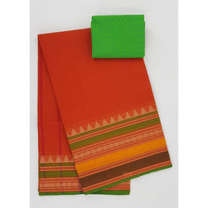 Alphonso and Green Color Kanchi cotton saree with thread border - Vinshika