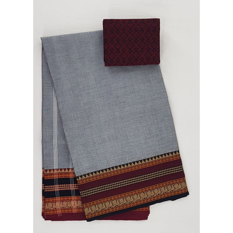Grey and Maroon Color Kanchi cotton saree with thread border - Vinshika