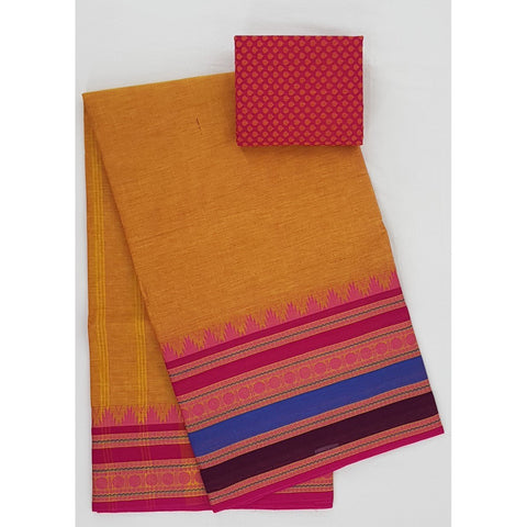 Orange and Pink Color Kanchi cotton saree with thread border - Vinshika