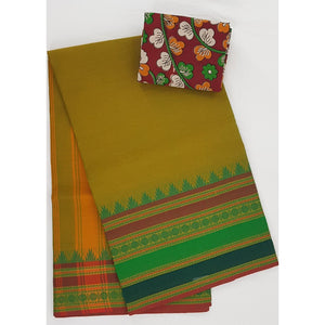 Yellow Olive and Green Color Kanchi cotton saree with thread border - Vinshika