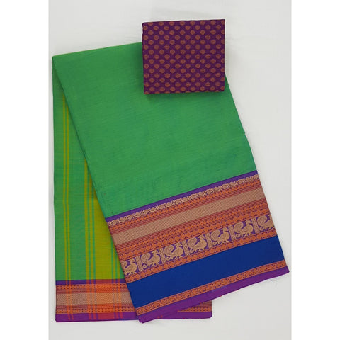 Kiwi and Blue Color Kanchi cotton saree with thread border - Vinshika