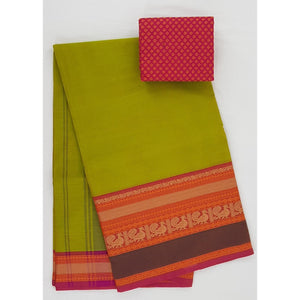 Olive and Pink Color Kanchi cotton saree with thread border - Vinshika