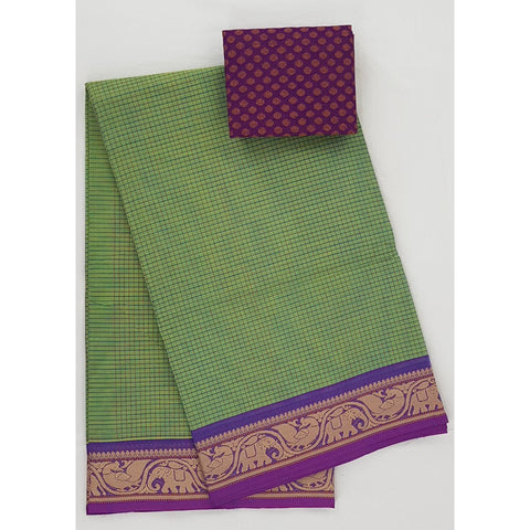 Green and Purple Color Kanchi cotton saree with thread border and all over checks - Vinshika