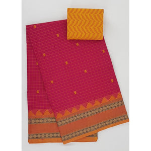 Blossom and Yellow Color Kanchi cotton saree with thread border and all over checks - Vinshika