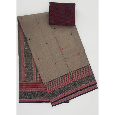 Light Capers and Black Color Kanchi cotton saree with thread border and Rich Pallu - Vinshika