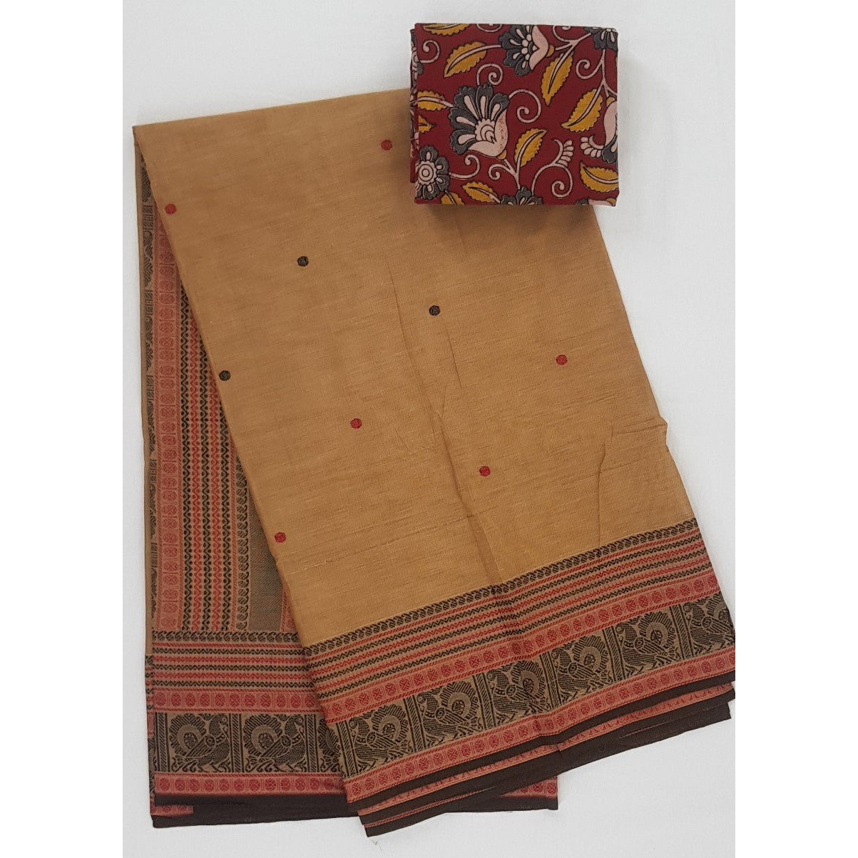 Rust and Black Color Kanchi cotton saree with thread border and Rich Pallu - Vinshika