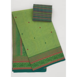 Pista and Green Color Kanchi cotton saree with thread border and Rich Pallu - Vinshika