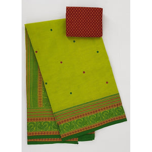 Neon Lemon and Green Color Kanchi cotton saree with thread border and Rich Pallu - Vinshika