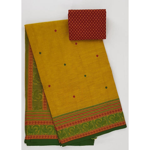 Saffron and Green Color Kanchi cotton saree with thread border and Rich Pallu - Vinshika